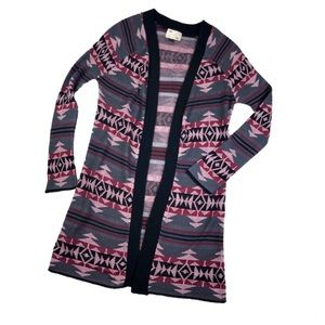 Aztec Long Cardigan Duster by Say What? Medium